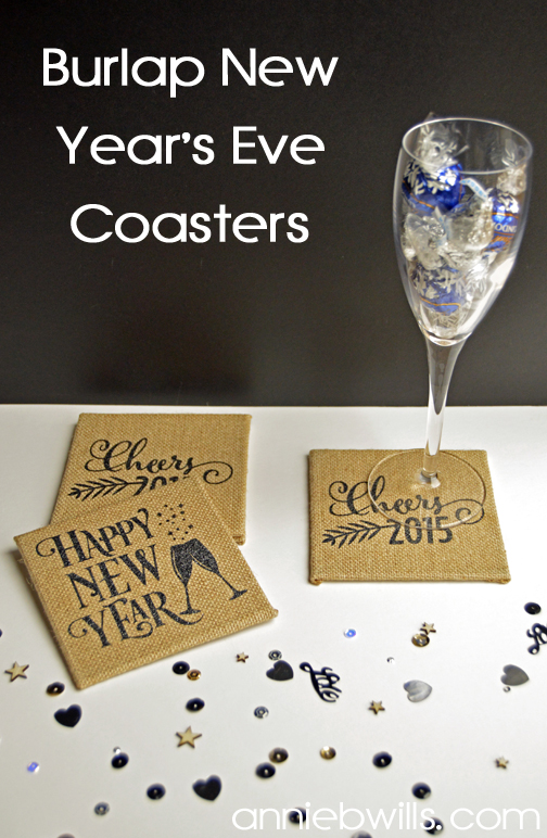 Burlap New Years Eve Coasters by Annie Williams - Main