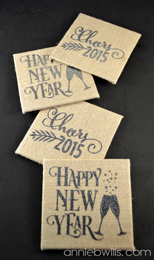 Burlap New Years Eve Coasters by Annie Williams - Vertical