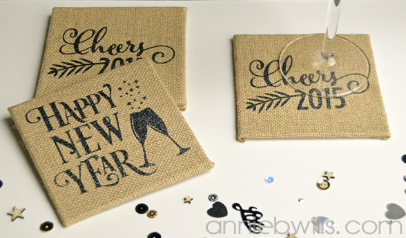 Burlap New Years Eve Coasters by Annie Williams - Wide
