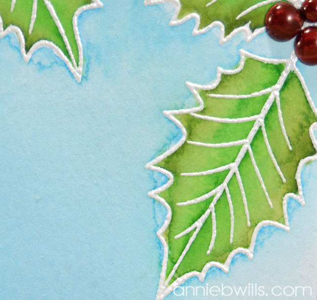 Watercolor Holly Card by Annie Williams - Detail