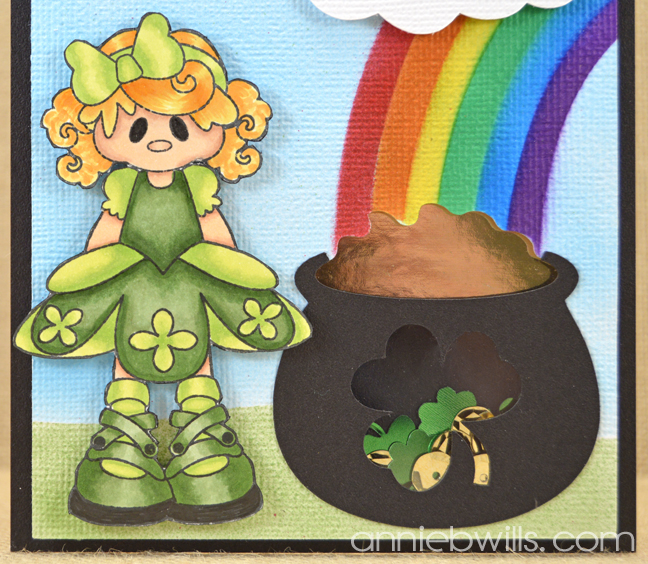 St Patricks Day Shaker Card by Annie Williams - Detail