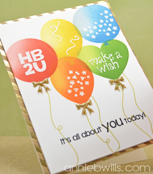 Stenciled Balloons Birthday Card by Annie Williams - Angled