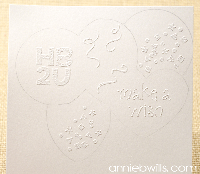 Stenciled Balloons Birthday Card by Annie Williams - Embossing