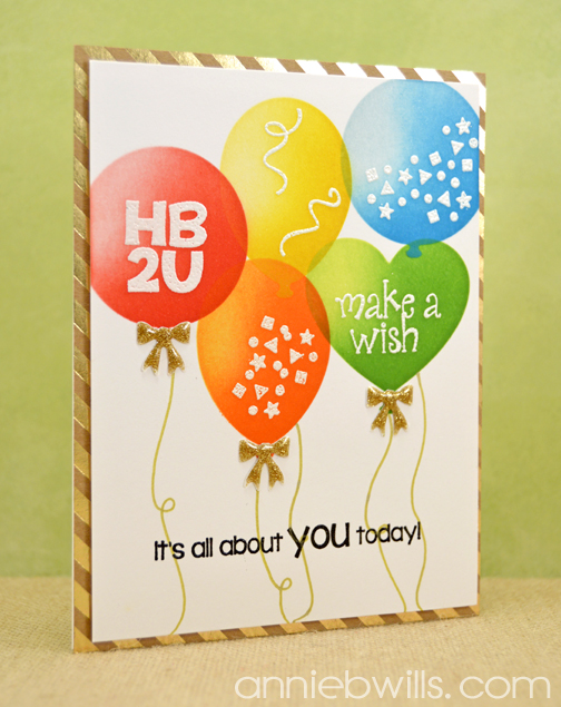 Stenciled Balloons Birthday Card by Annie Williams - Main