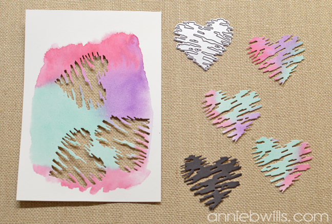 Simple Watercolor Valentine Card and Envelope by Annie Williams - Die-Cutting