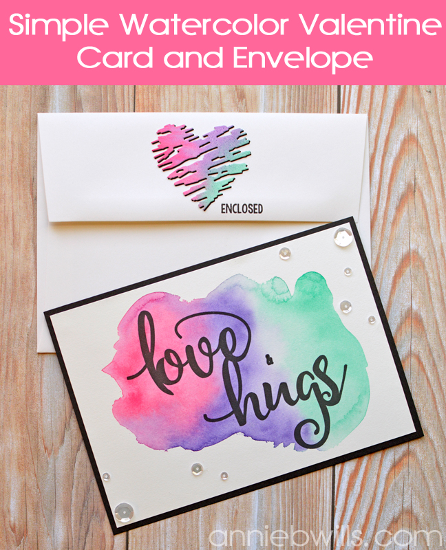 Simple Watercolor Valentine Card and Envelope by Annie Williams - Main