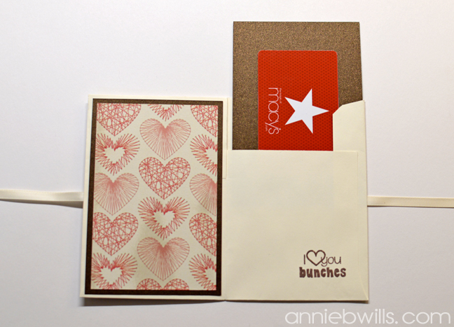 Valentines Day Gift Card Wallet by Annie Williams - Inside