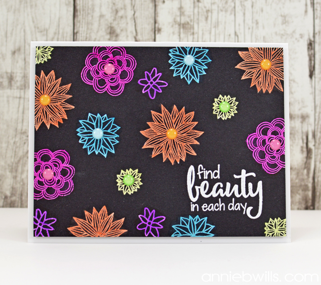 Neon Floral Embossed Card by Annie Williams - Full