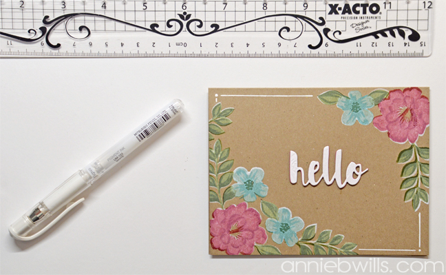 Painted Blooms Card by Annie Williams - Draw Borders