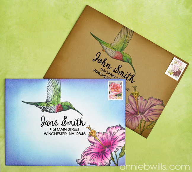 Hummingbird Mail Art by Annie Williams - Main