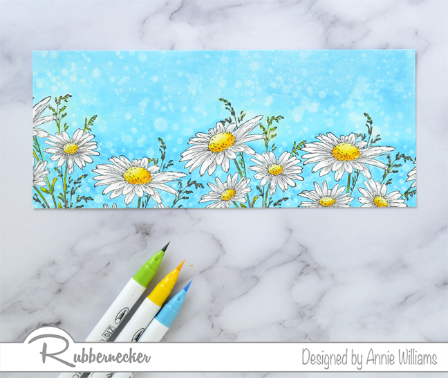 Rubbernecker Blog Slimline-Floral-Cards-Two-Ways-by-Annie-Williams-Daisy-Card-Coloring