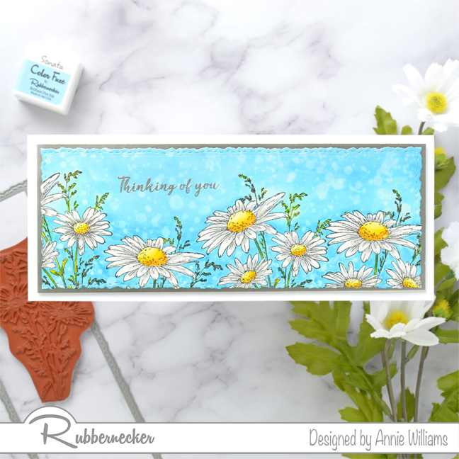 Rubbernecker Blog Slimline-Floral-Cards-Two-Ways-by-Annie-Williams-Daisy-Card-with-Supplies
