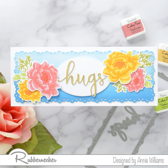 Rubbernecker Blog Slimline-Floral-Cards-Two-Ways-by-Annie-Williams-Hugs-Card-with-Supplies