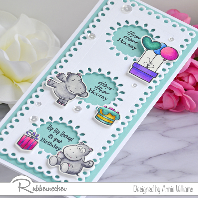 Rubbernecker Blog Hippo-Birthday-Slimline-Card-by-Annie-Williams-Detail