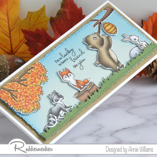 Rubbernecker Blog Autumn-Woodland-Slimline-Scene-Cards-by-Annie-Williams-Autumn-Critters-Detail