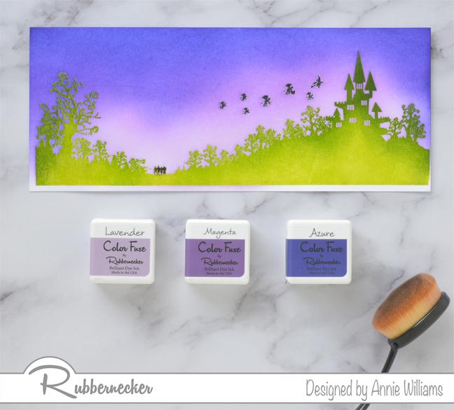 Rubbernecker Blog Slimline-Flying-Monkeys-Card-by-Annie-Williams-Background-Ink-Blending