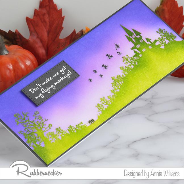 Rubbernecker Blog Slimline-Flying-Monkeys-Card-by-Annie-Williams-Detail