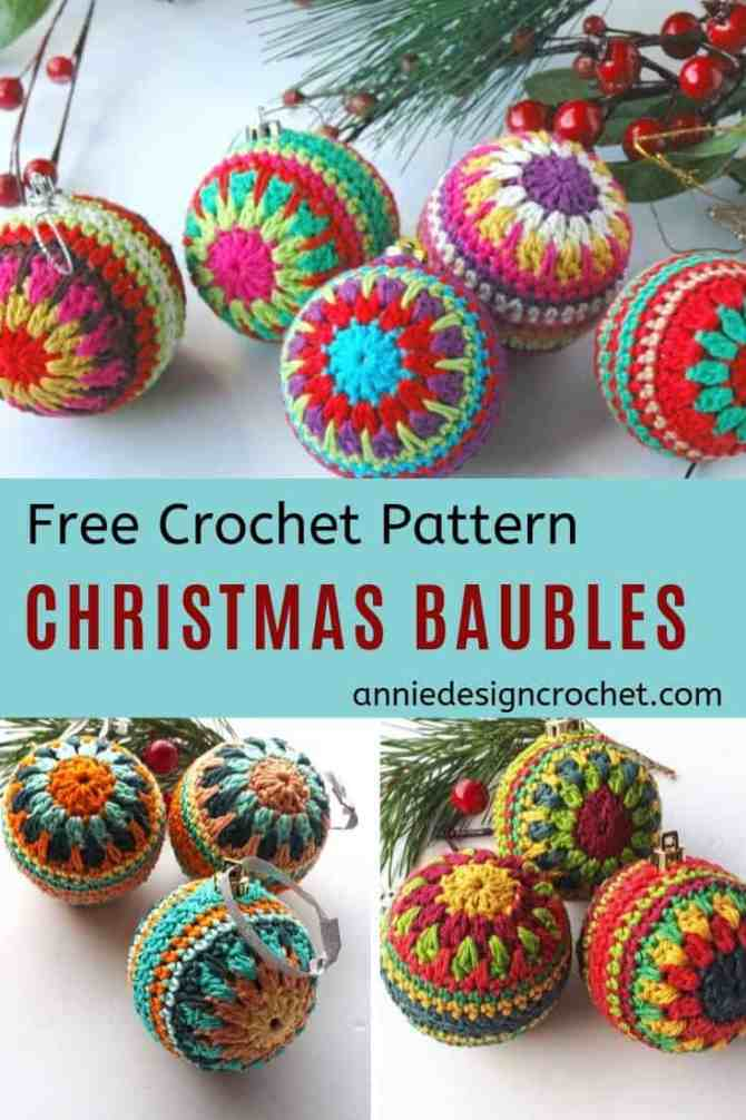 Free pattern for Christmas crochet baubles