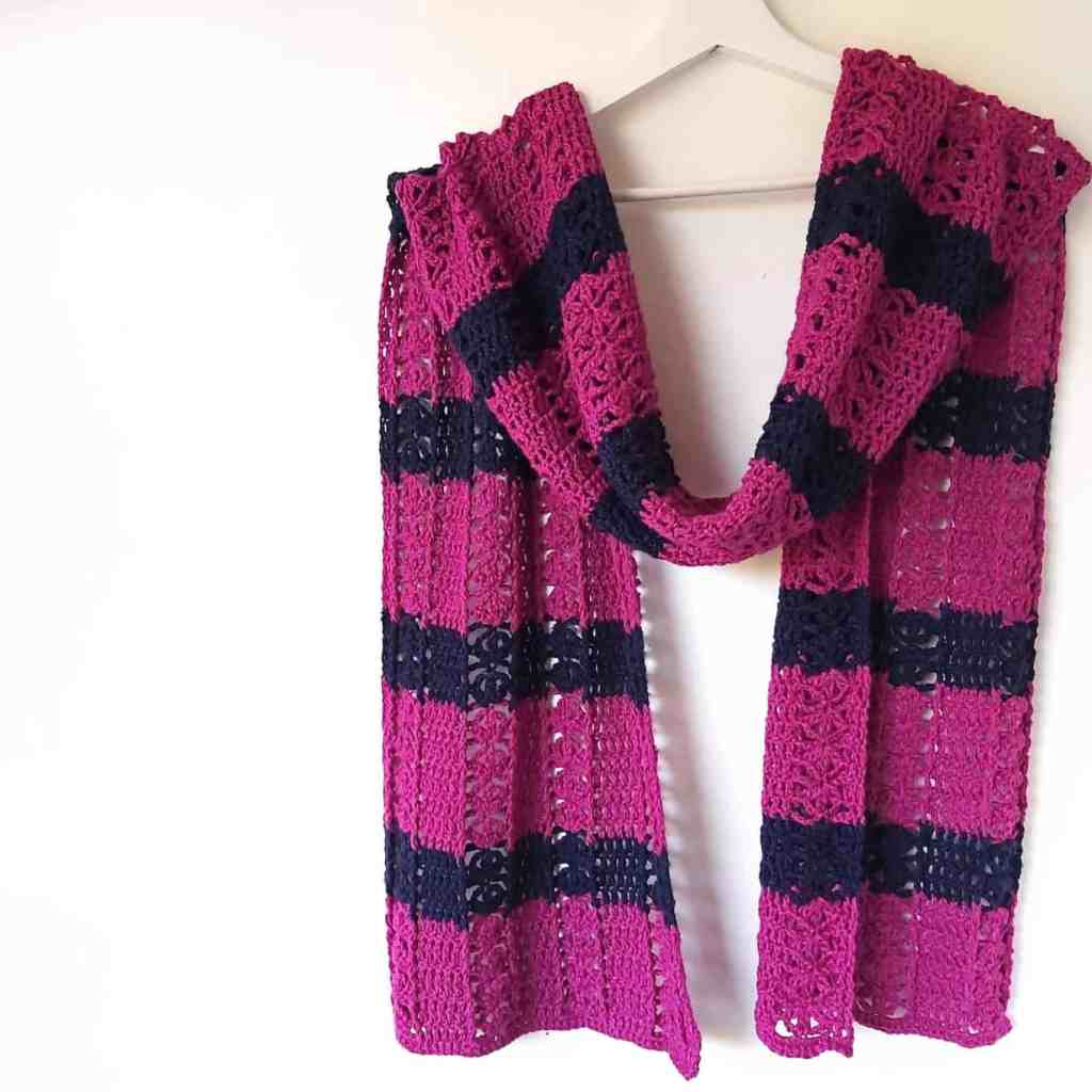 Modern Crochet Scarf Pink and Navy – Free Pattern