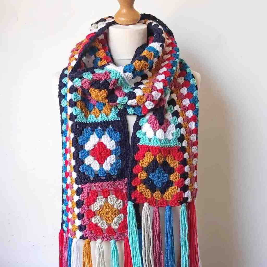 Crochet Granny Square Scarf – Easy Free Pattern