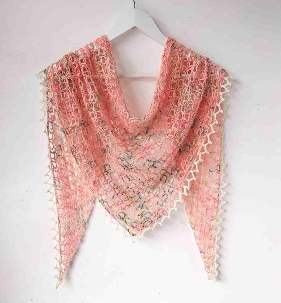 Vintage Peach – One Skein Crochet Triangle Shawl