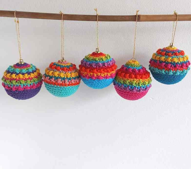 boho christmas crochet baubles