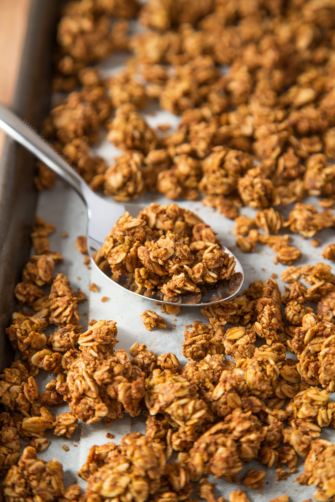 Your perfect base recipe for Pumpkin Spice Granola. Ready for whatever add ins you want, but also delicious on its own!