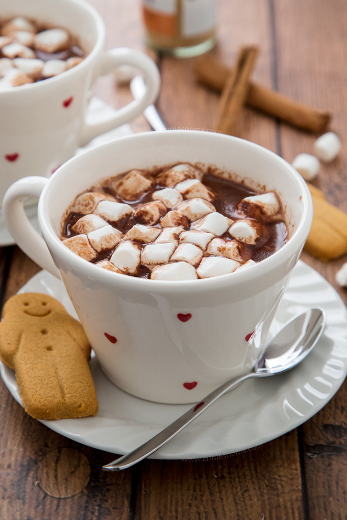 Rich and creamy Gingerbread Hot Chocolate spiked with all the very best gingerbread spices. The perfect festive drink!