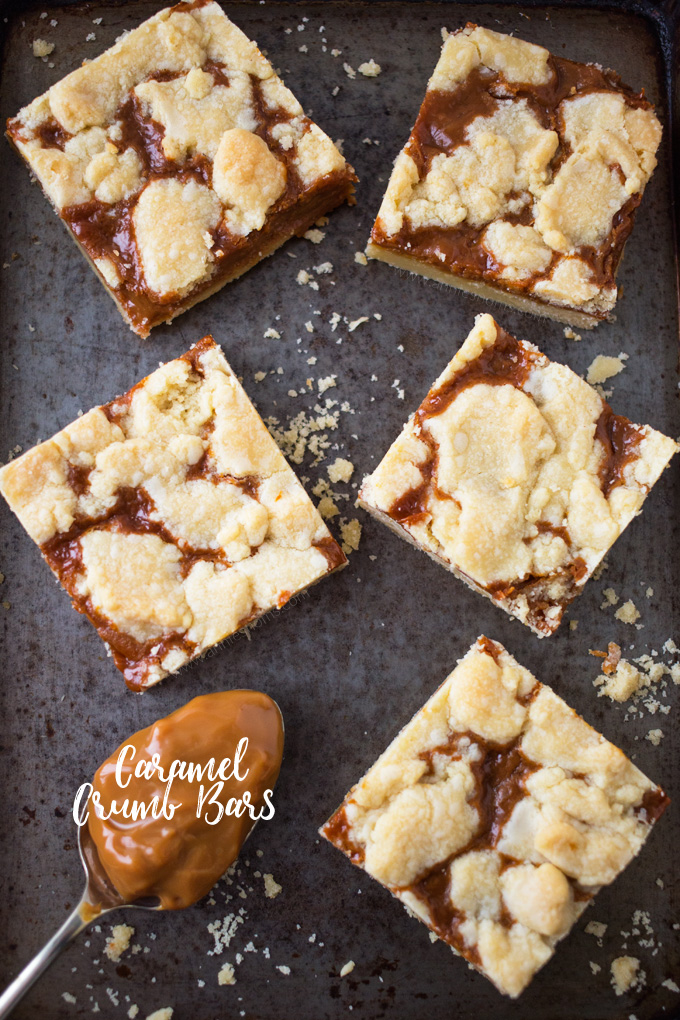 Rich, sweet caramel sandwiched between two layers of buttery shortbread; these little Caramel Crumb Bars are just perfect for when you need a sweet fix!