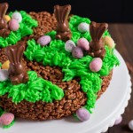 This no bake Easter Bunny Rice Krispie Cake is easy to make and so fun for kids and adults alike! It will make the perfect centrepiece on your Easter table! #ad