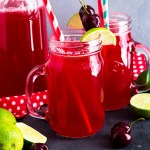 This Homemade Cherry Limeade is sweet with just enough tart! It's easy to make, super refreshing and great to make ahead and take to barbecues or picnics!