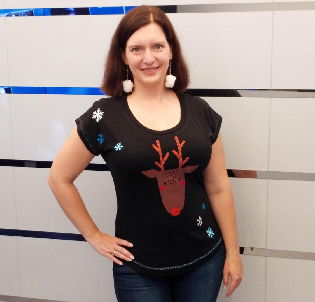 T-Shirt Sally (Romy Nähwerk) mit Rentier-Plott von Lilleluett