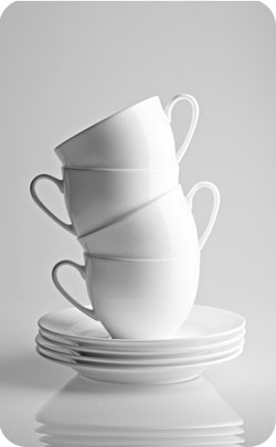 stack of bone china cups to represent the 36th year anniversary symbol