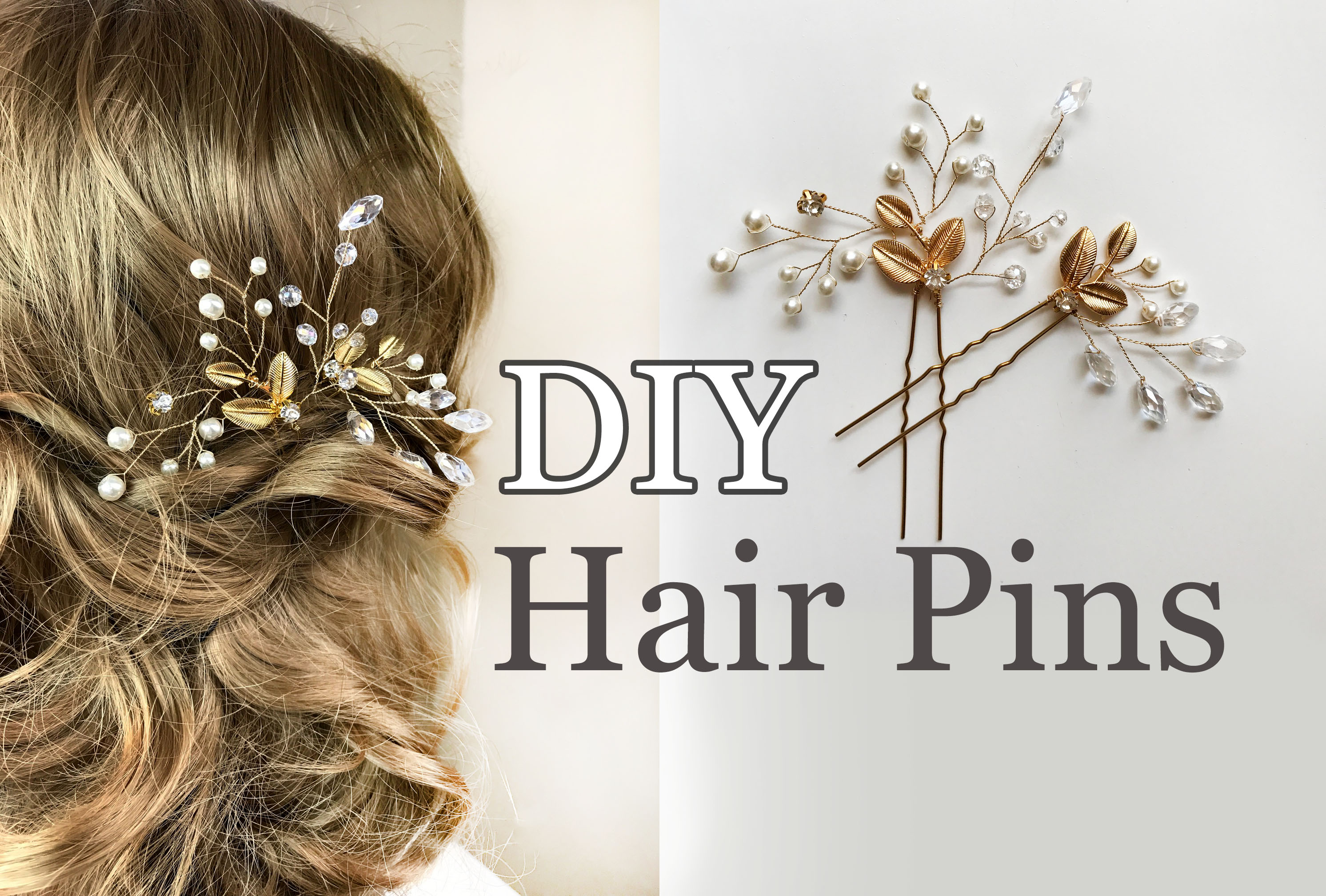 easy diy bridal hair pins with gold leaves wedding hair comb tutorial