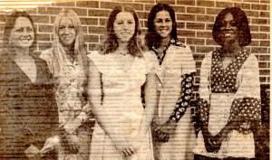 Homecoming Court: Patty Martin, Dale Ann Clark, Me, Teresa Raulerson, Debbie King