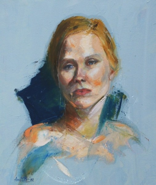 painting of a blue eyed woman deep in thought.