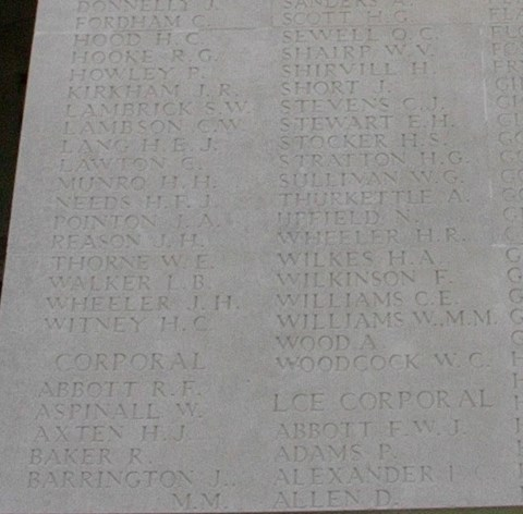 """""""H.H. Munro"""" among the names of the war dead. (Photo credit: http://www.findagrave.com/cgi-bin/fg.cgi?page=gr&GRid=12293752)"""