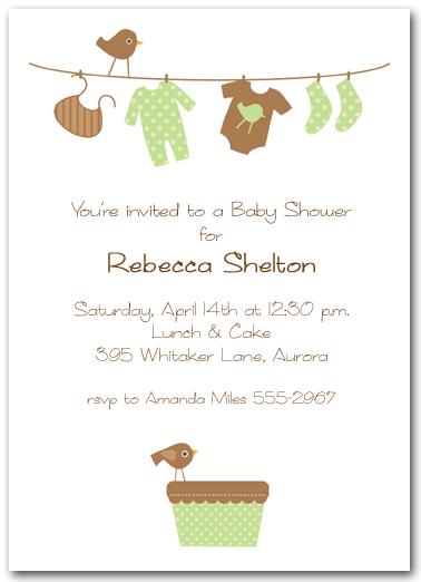 Baby Laundry Line Shower Invitation
