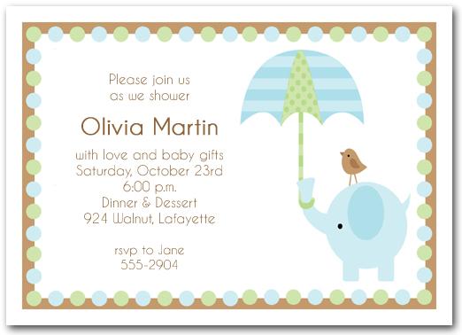 Elephant Amp Umbrella Boy Baby Shower Invitations Boy Baby
