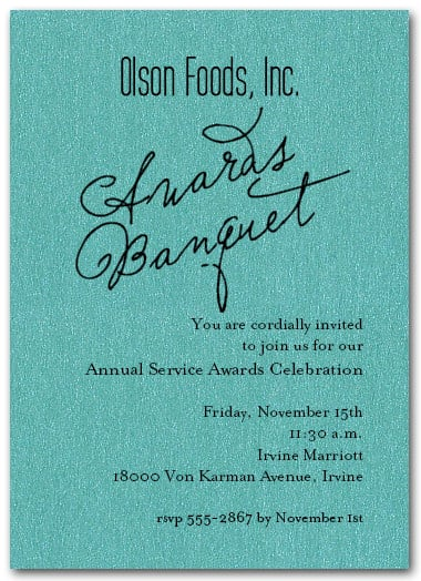 Business Awards On Shimmery Turquoise Invitations