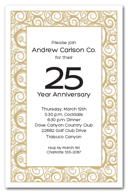 Gold Swirls On White Business Party Invitations