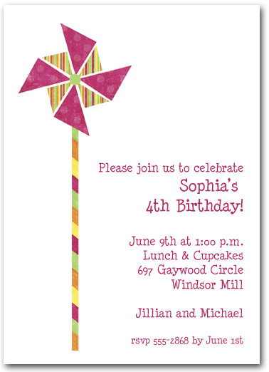 Hot Pink Amp Citrus Stripes Pinwheel Invitations
