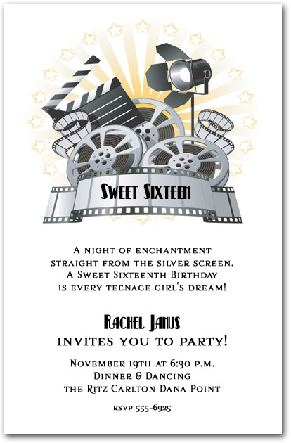 Movie Film And Clapboard Invitations