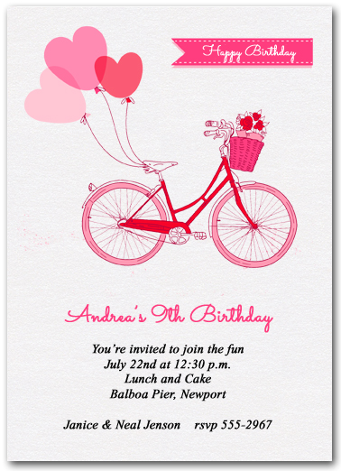 Balloons And Pink Bike Party Invitations