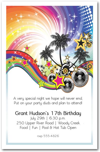 Summer Music Party Invitation Teenage Birthday Party