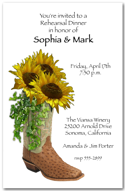Sunflowers In Boot Western Party Invitations Floral