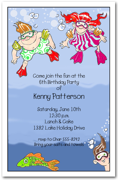 Underwater Swim Kids Party Invitations Swim Party Invitations