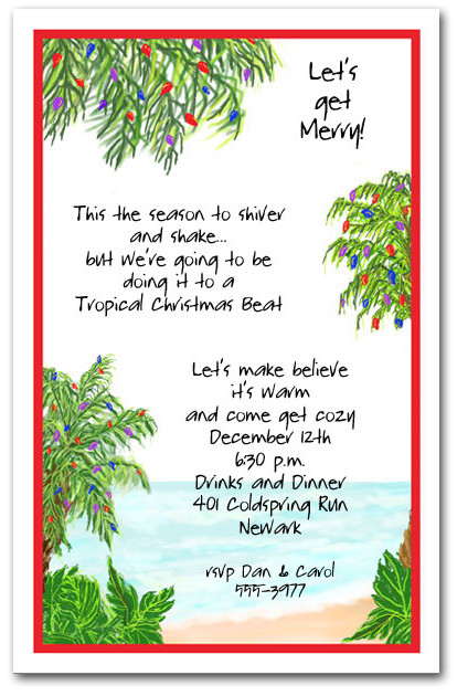 Tropical Holiday Beach Party Invitations Christmas