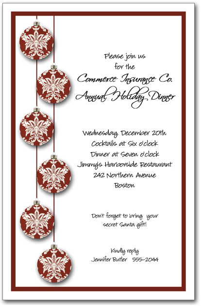 Red Toile Christmas Tree Ornaments Invitation Holiday