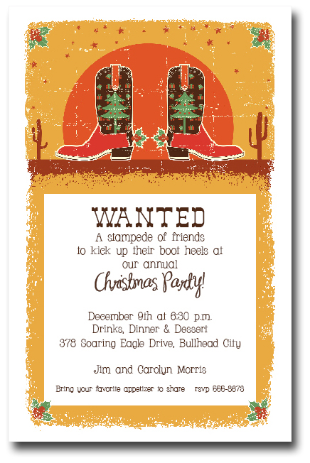 Christmas Cowboy Boots Holiday Party Invitations